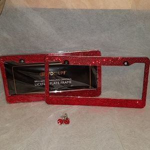 Red Blingy License Plate Frames